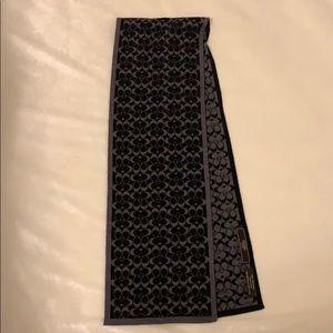 Coach Black Gray Reversible Merino Wool Scarf
